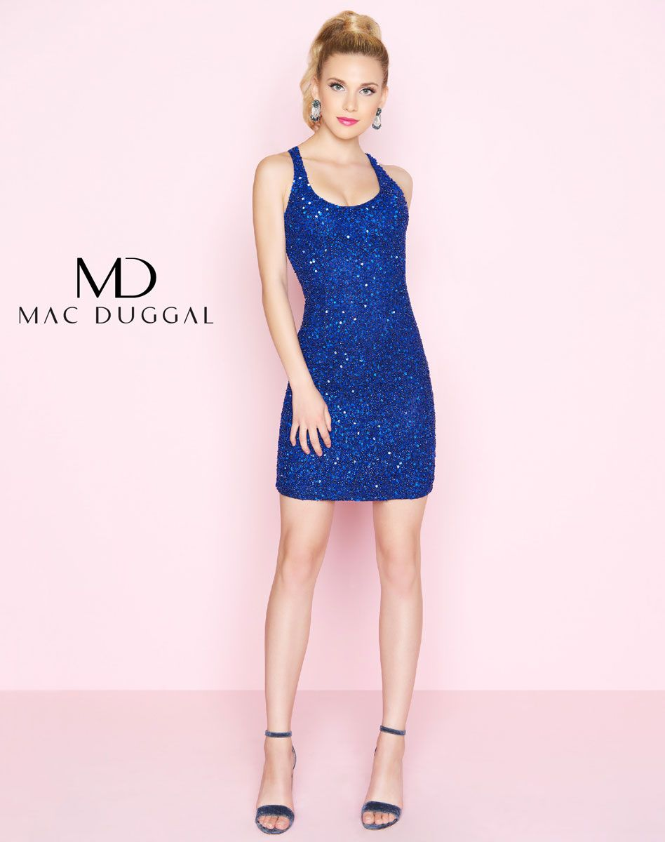 A short racerback sleeveless dress that is fully sequined