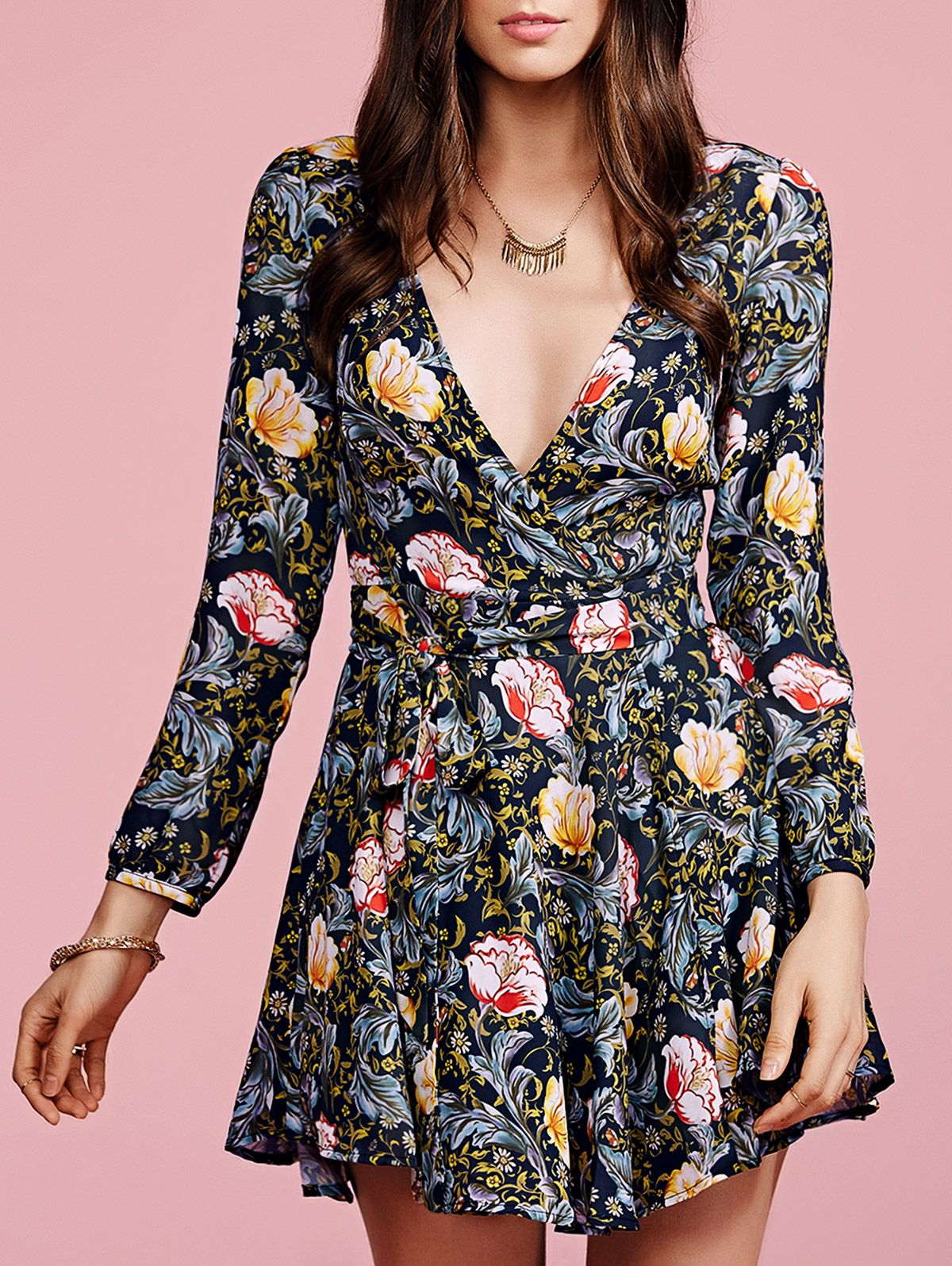 Crossover collar floral dress crossover floral and sleeved dress