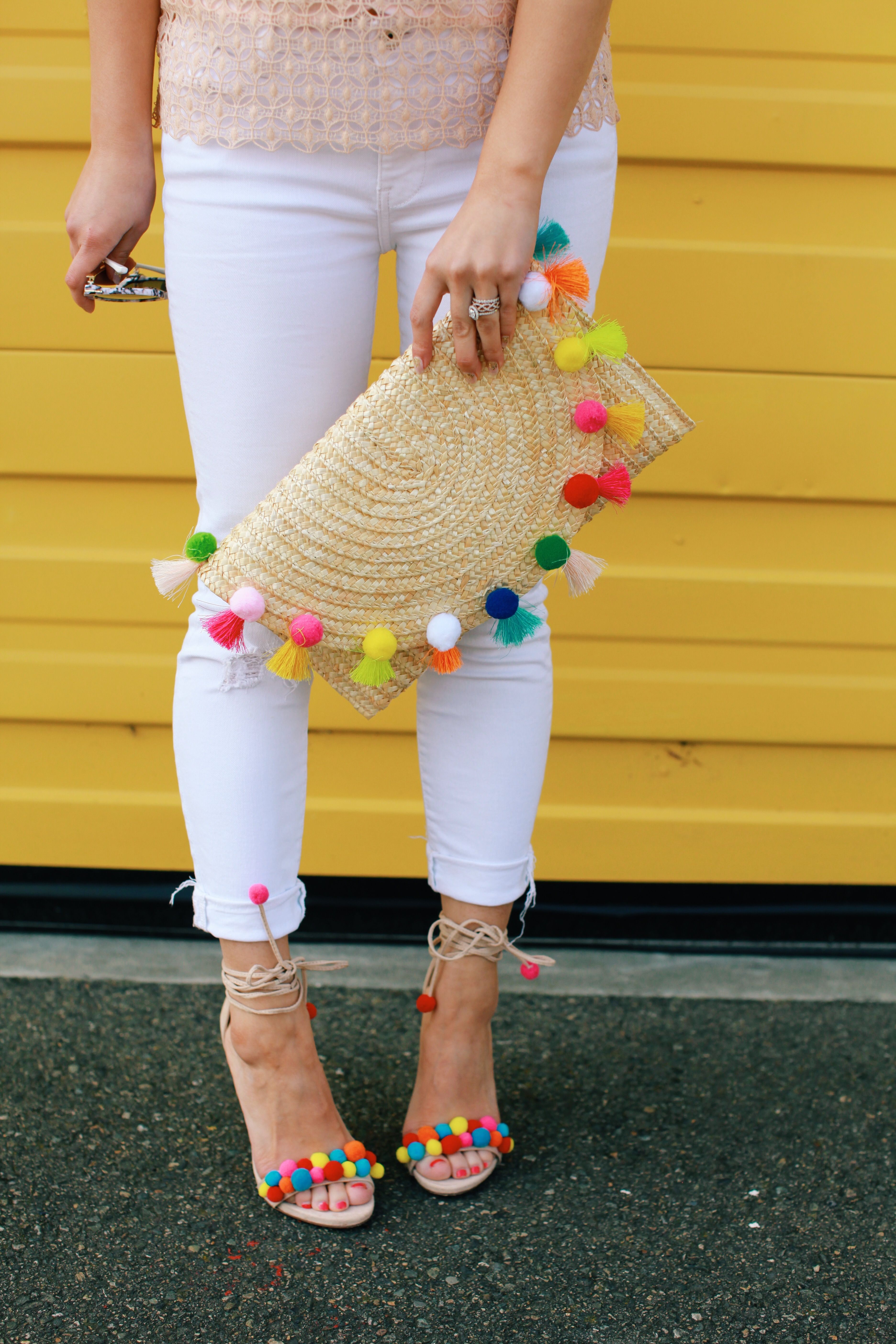 55653cfb6db The cutest pom pom shoes and clutch! We LOVE all things poms and color