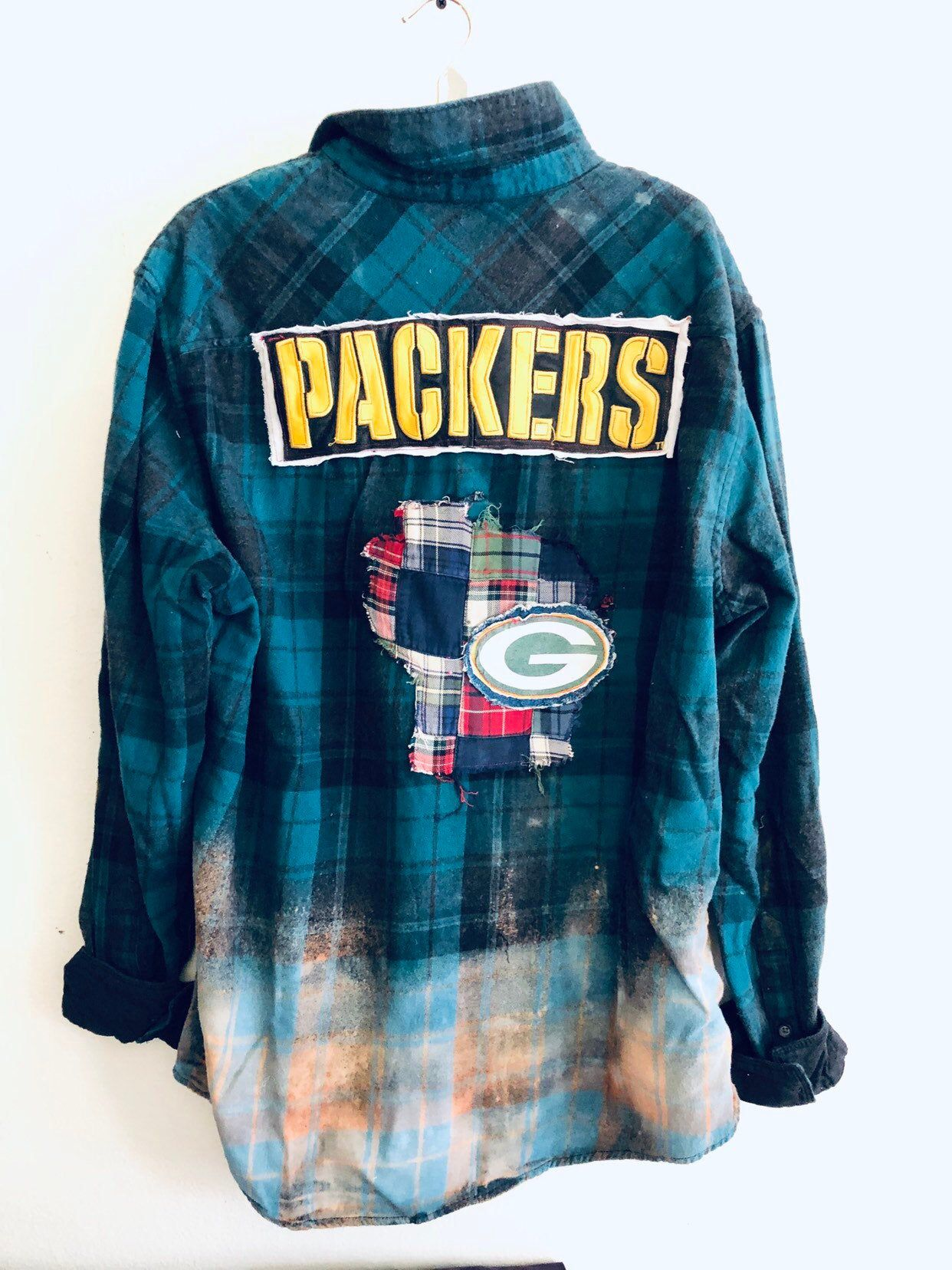 Upcycled Green Bay Packers grunge Unisex flannel Men's