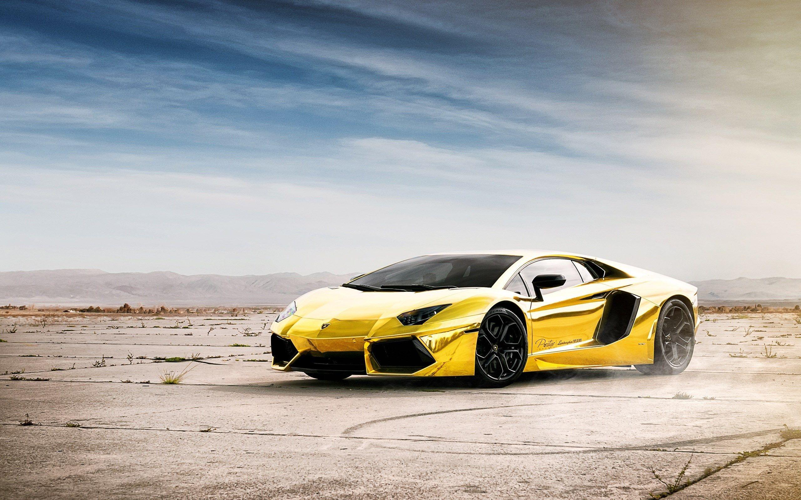 Most Beautiful Lamborghini Aventador Wallpaper Roadster Gold