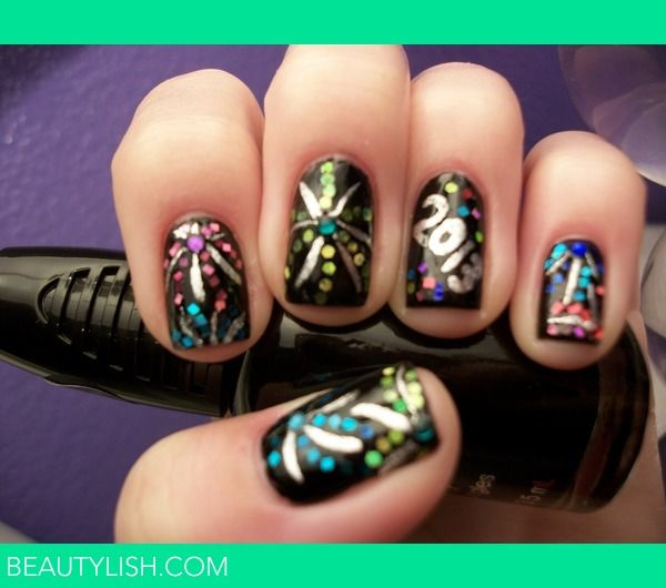 New years nail artwouldnt have to do 2013 just put the new these are very colourful new years eve nails make sure you change the date solutioingenieria Choice Image