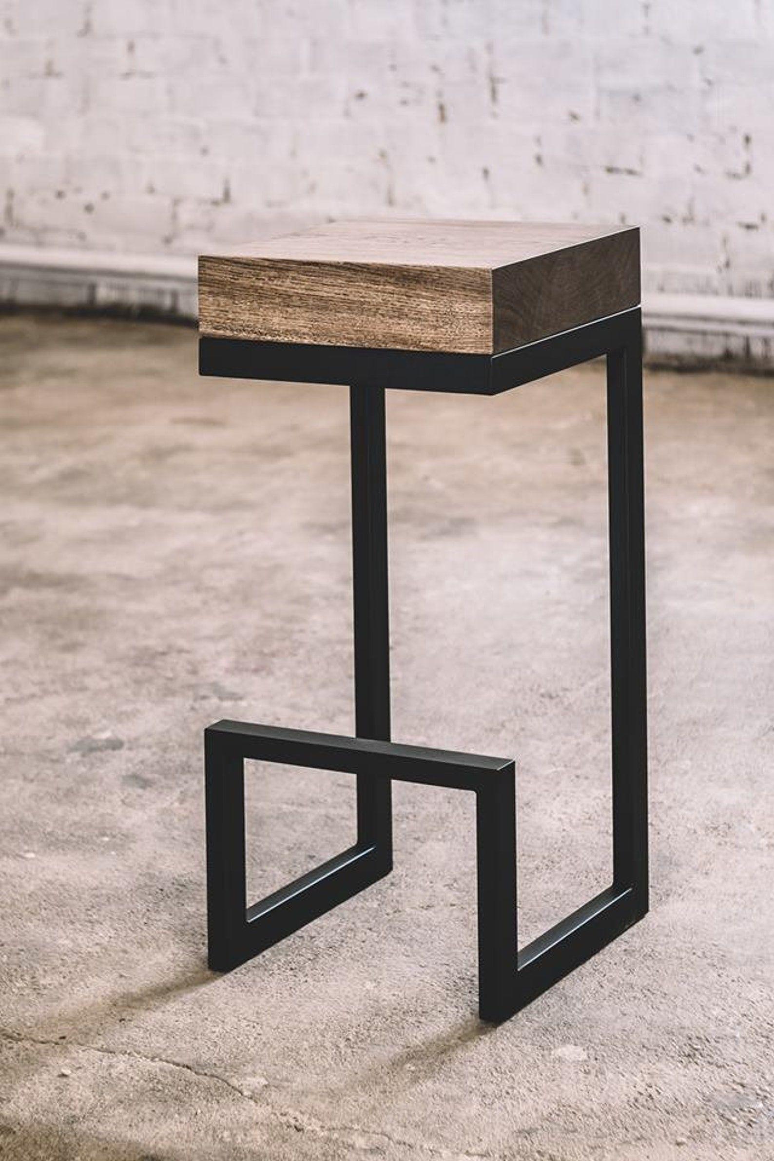 Industrial bar chair / Oak bar chair / Wooden bar chair / Modern bar chair / Geometric bar chair /Industrial furniture / Rustic furniture