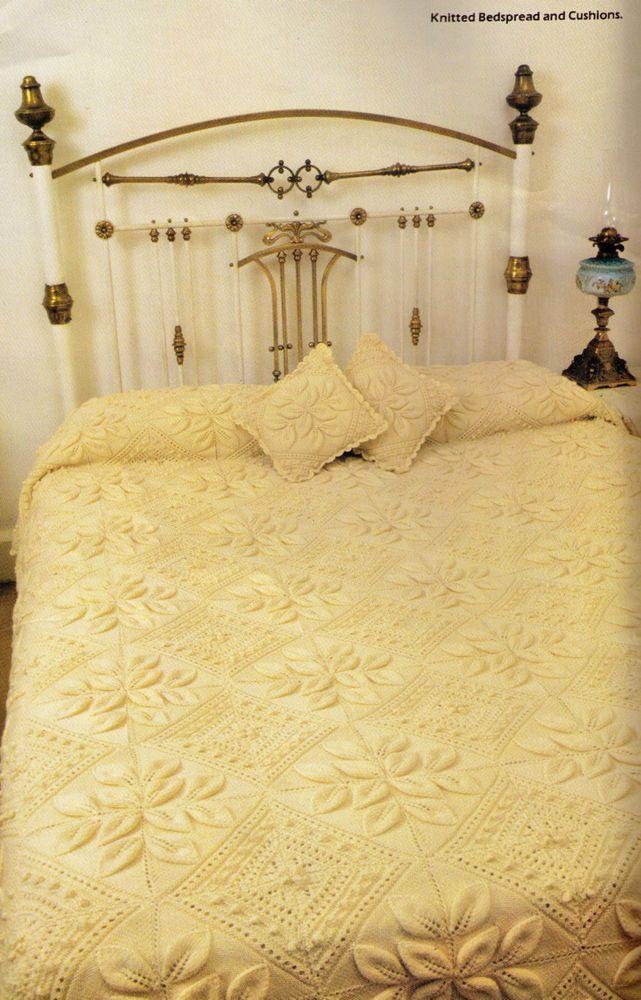 Heritage Petals Diamond Aran Bedspreadcushions Made In Squares