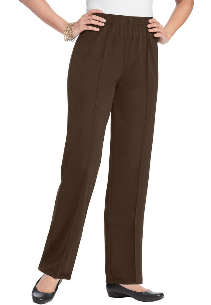 8f642830aa2 NWT Ladies Creased Front Knit Casual Pants in Chocolate - Women s - 18W   Roamans  CasualPants