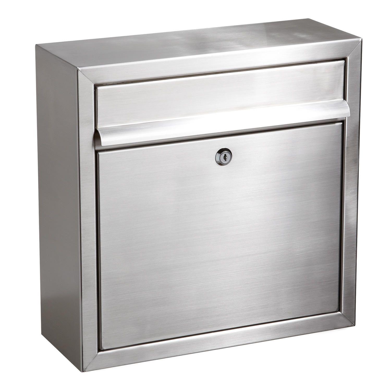 Mailbox stainless steel locking mail box letterbox postal box modern - Aura Locking Wall Mount Mailbox Stainless Steel