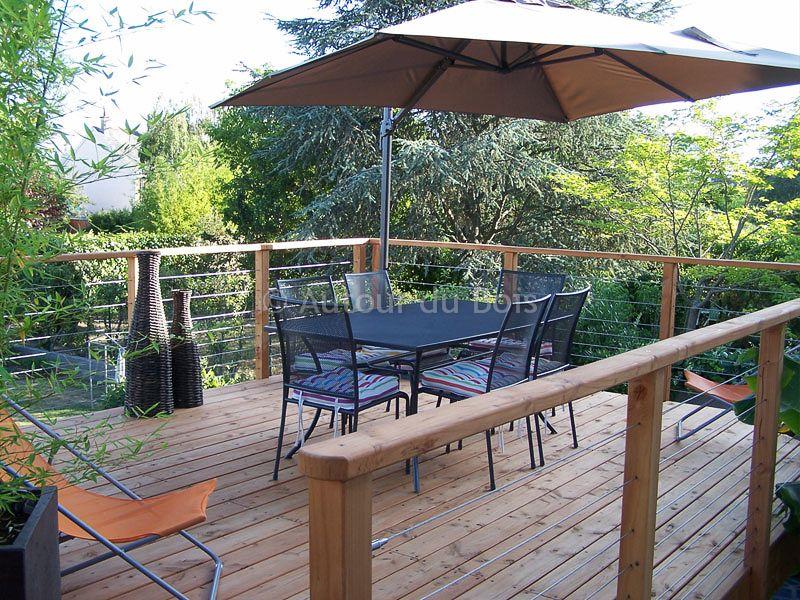 Garde-corps bois et inox pour terrasse bois suspendue - Main - Terrasse Bois Pilotis Prix