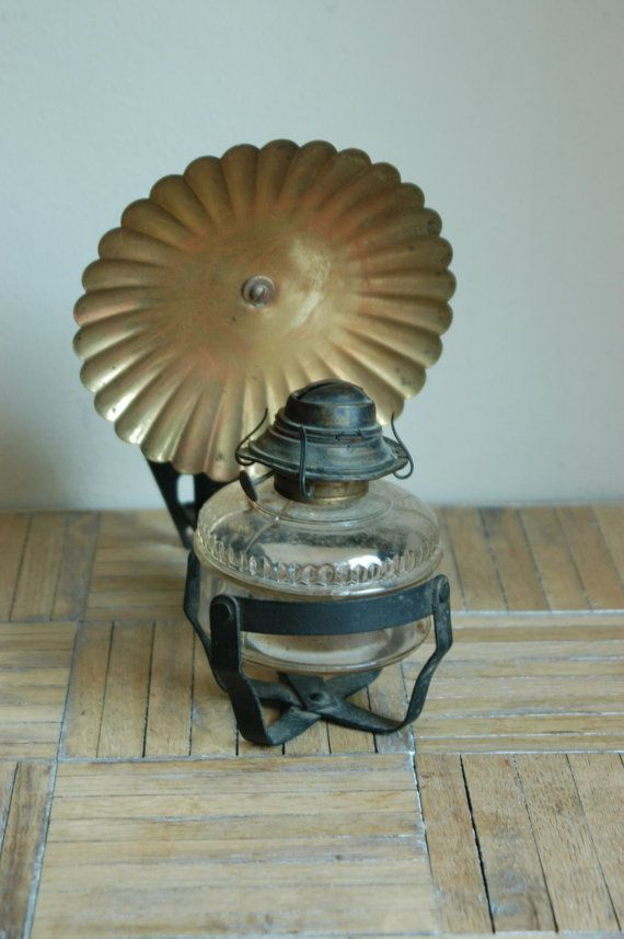 Vintage Wall Mount Oil Lamp With Brass Reflector By