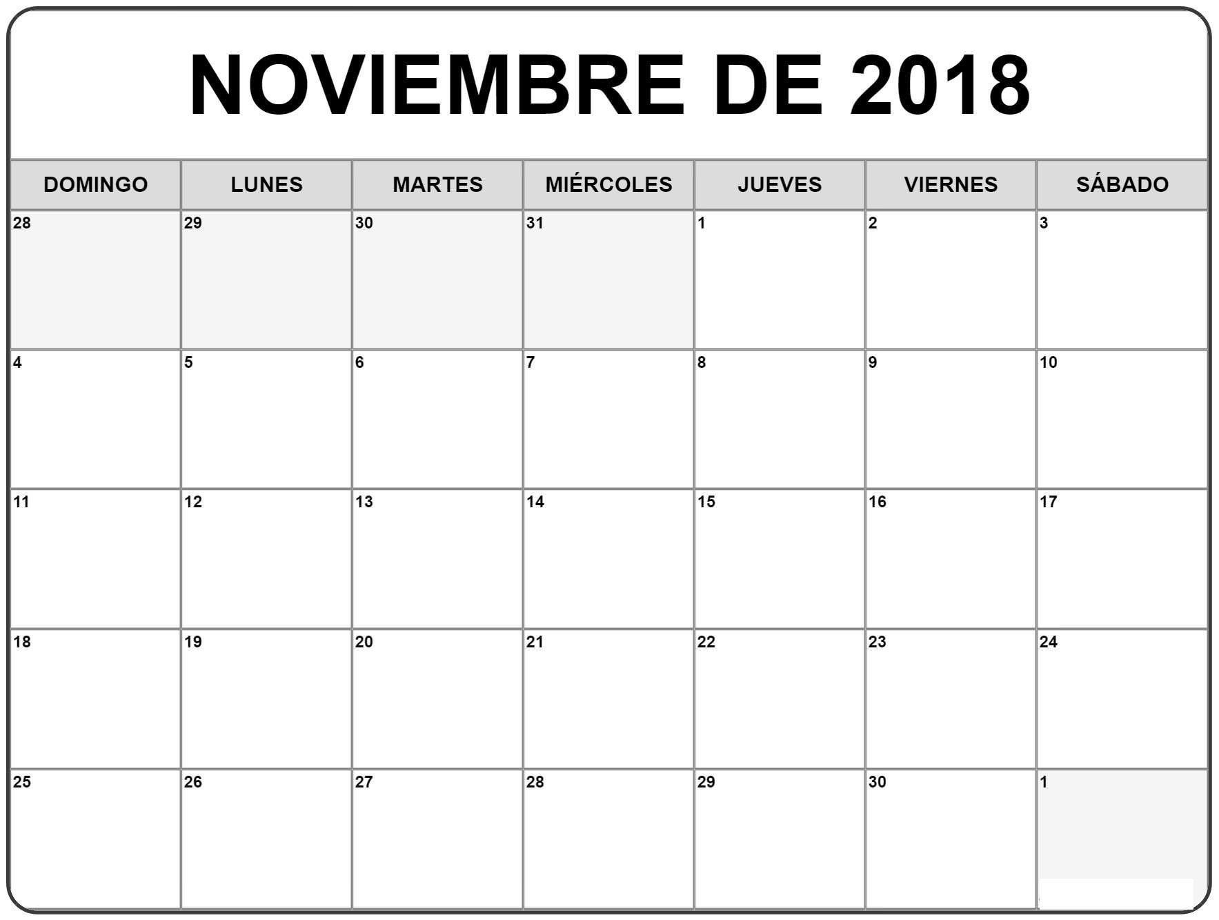 Calendario Mes De Noviembre 2018 Calendario enero