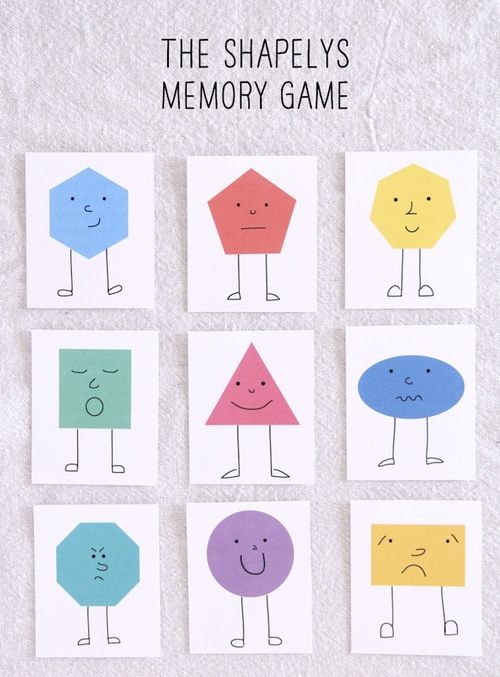 The Shapelys Memory Game 1 2 3 Shapes Memory Games For