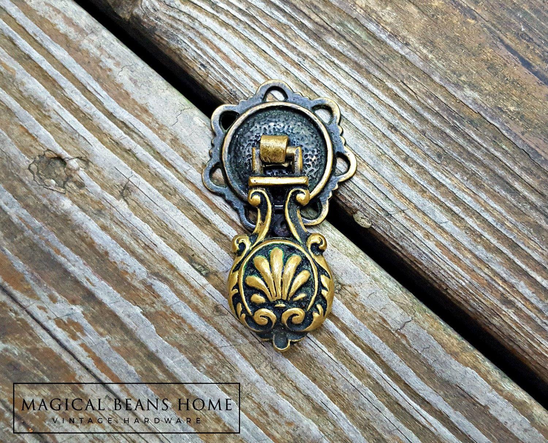 New! Vintage Keeler Brass Co Victorian Antiqued Brass Teardrop Pull ...