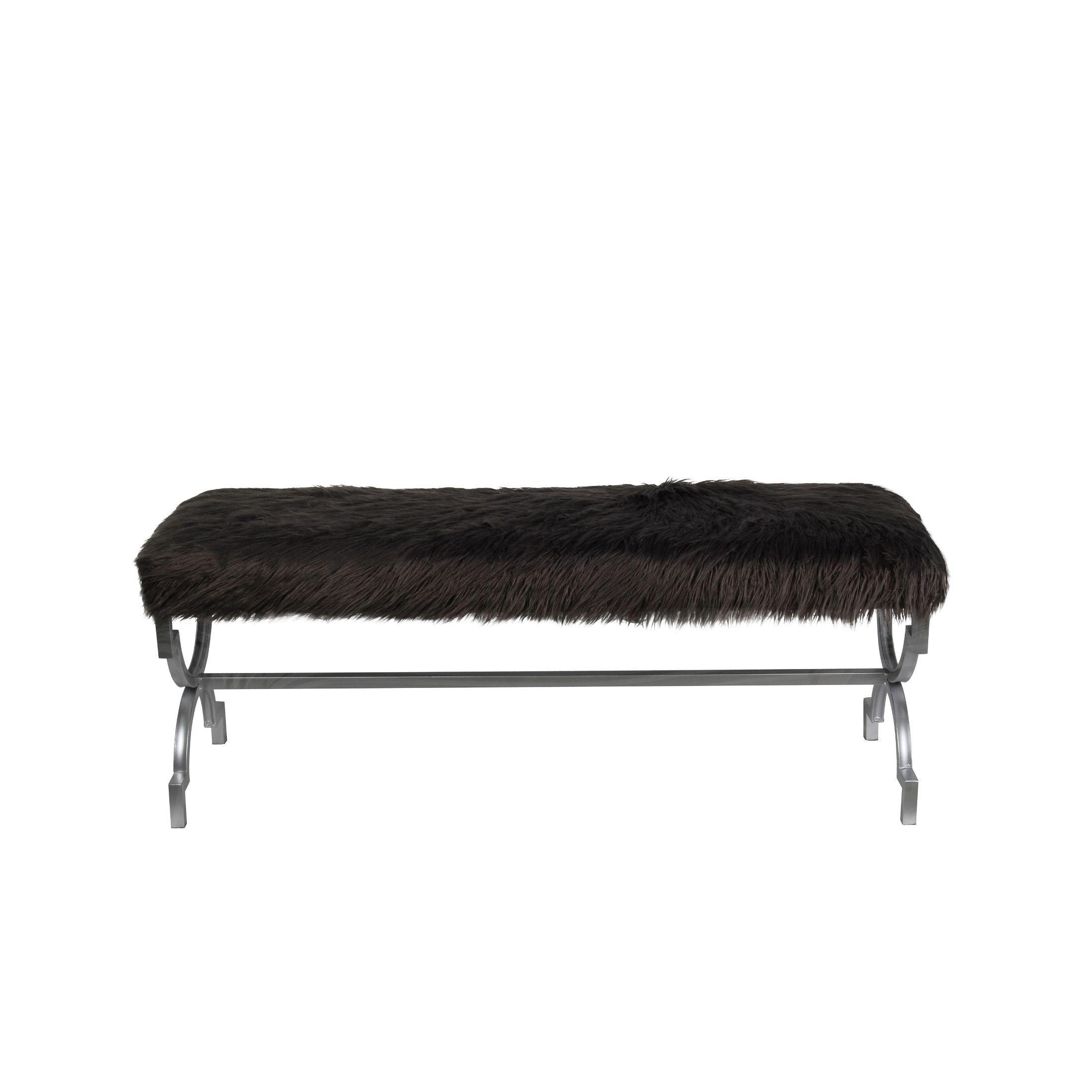 Privilege Dark Faux-Fur Bench