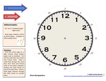 This printable clock manipulative is easy to create and use to ...