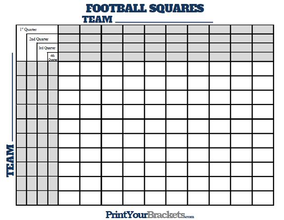 Football Squares with Quarter Lines raiders Pinterest - football score sheet template