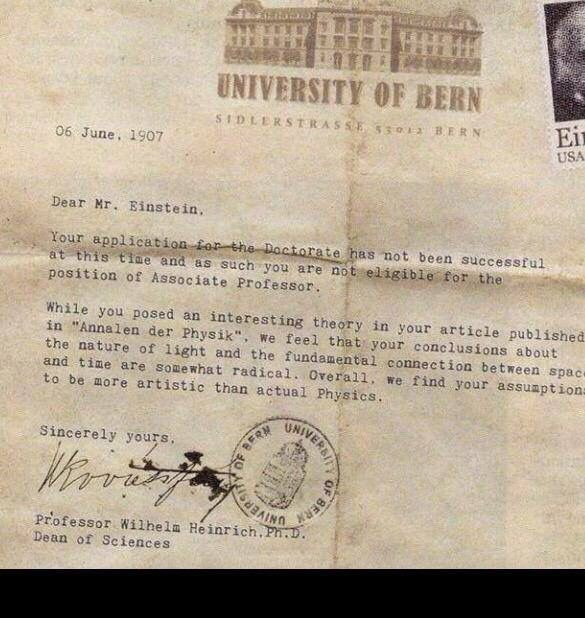 A rejection letter to Einstein Recruitment matters Pinterest - rejection letter