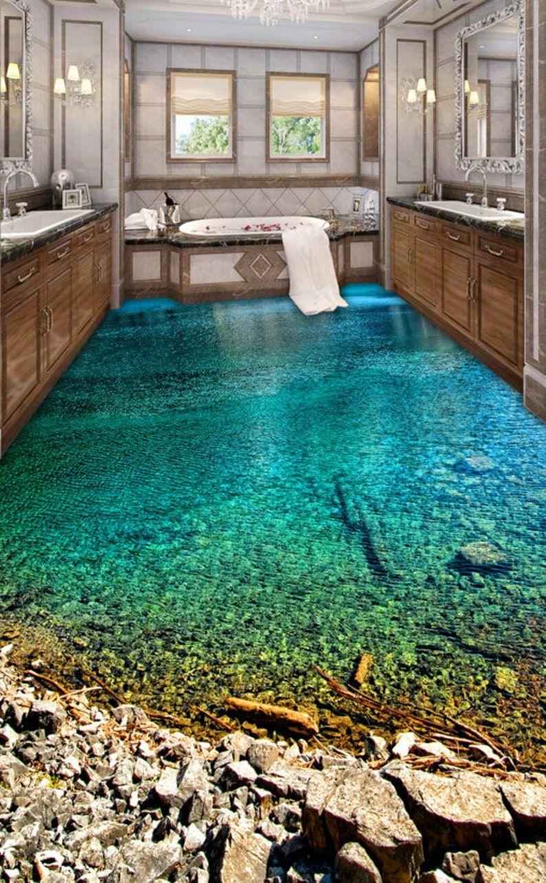 3D Beach F361 Floor Wallpaper Murals Self-Adhesive Removable Kitchen Bath Floor Waterproof  floor Ru