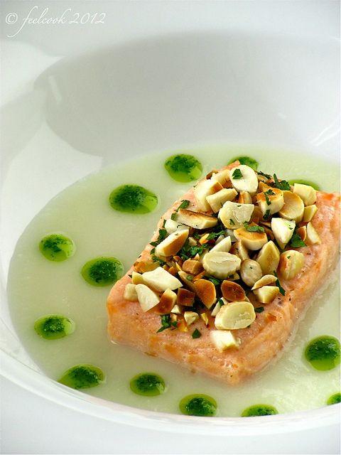 feelcook cucina per passione salmone al vapore in crosta di mandorle e salsa di finocchi