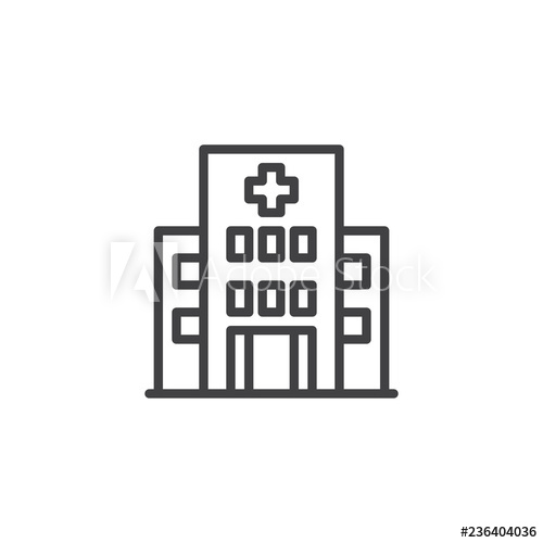 Hospital Building Outline Icon Linear Style Sign For Mobile Concept And Web Design Clinic With Medical Cross S Logo Illustration Vector Graphics Simple Lines