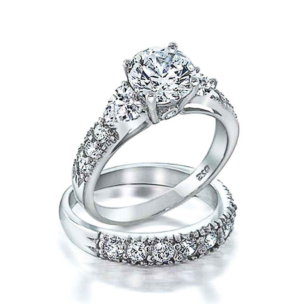 925 Silver Clear Cz Heart Side Stones Wedding Engagement Ring Set  Bling  Jewelry