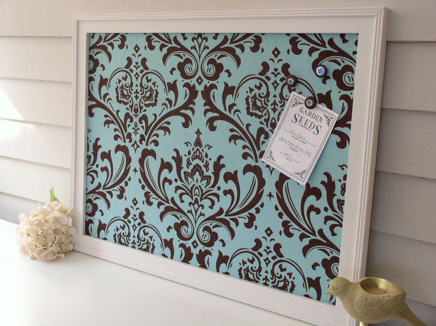 Large Damask Magnetic Bulletin Board Handmade Wood Frame