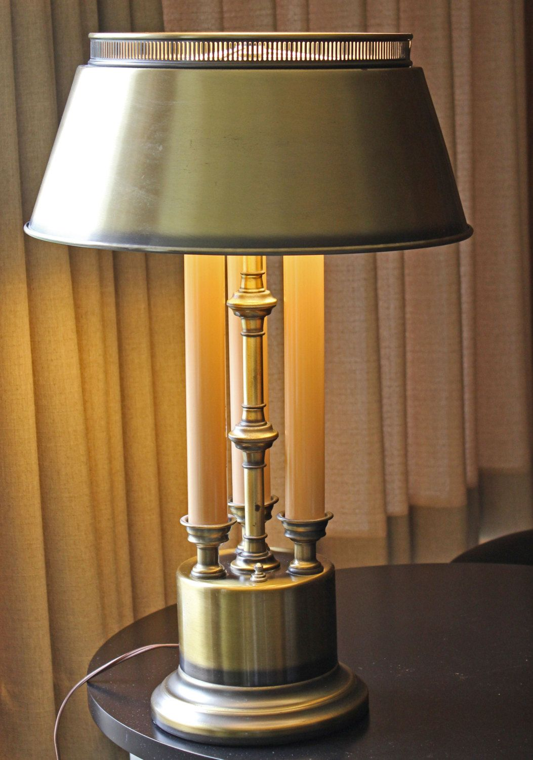 Brass Bouillotte Table Lamp 1950s Candlestick Lamp Three