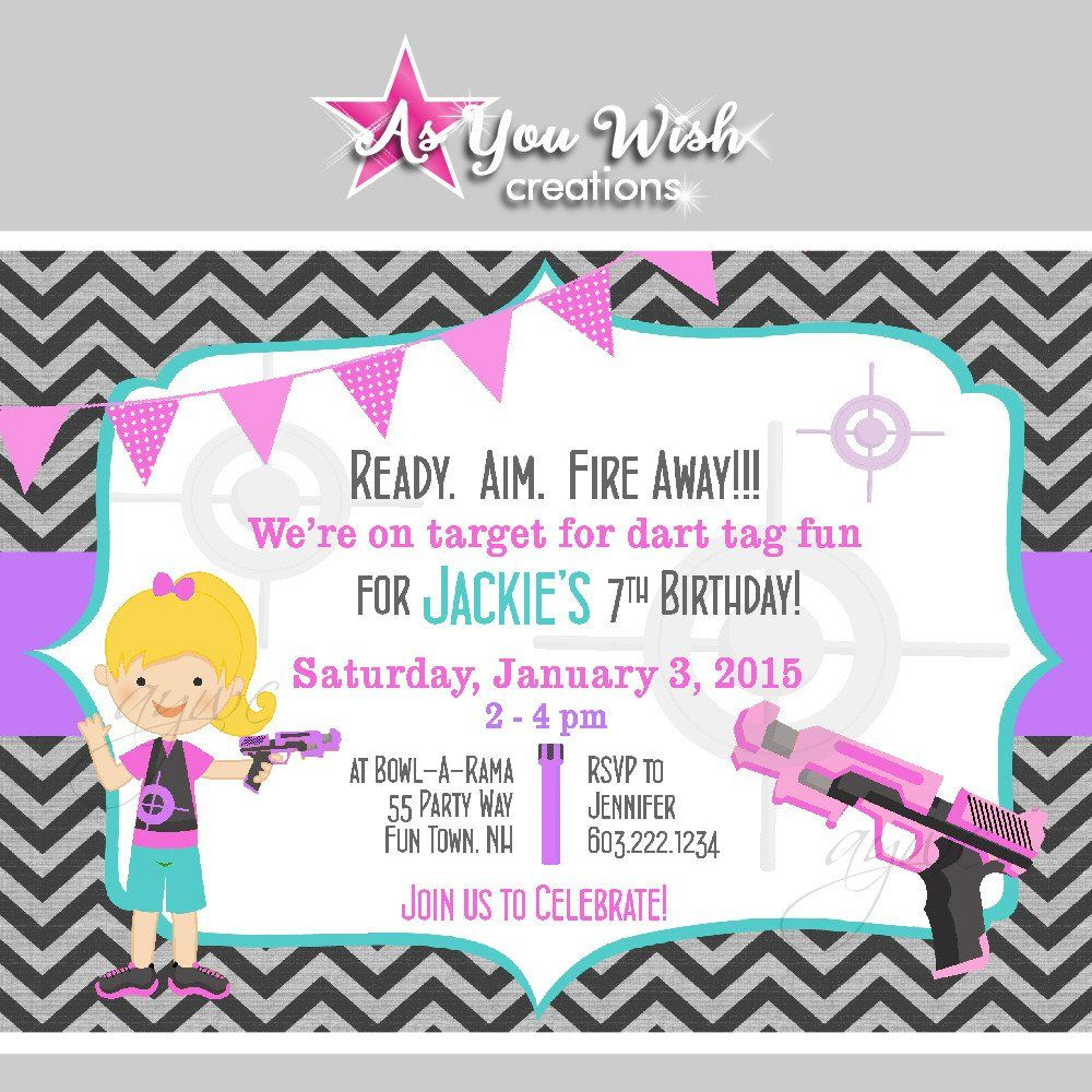 Dart tag birthday party invitations for girl nerf gun birthday dart tag birthday party invitations for girl nerf gun birthday invites filmwisefo Choice Image