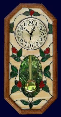 rosebud vines pendulum clock See more at:  AGlassMenagerie.net/clocks.html