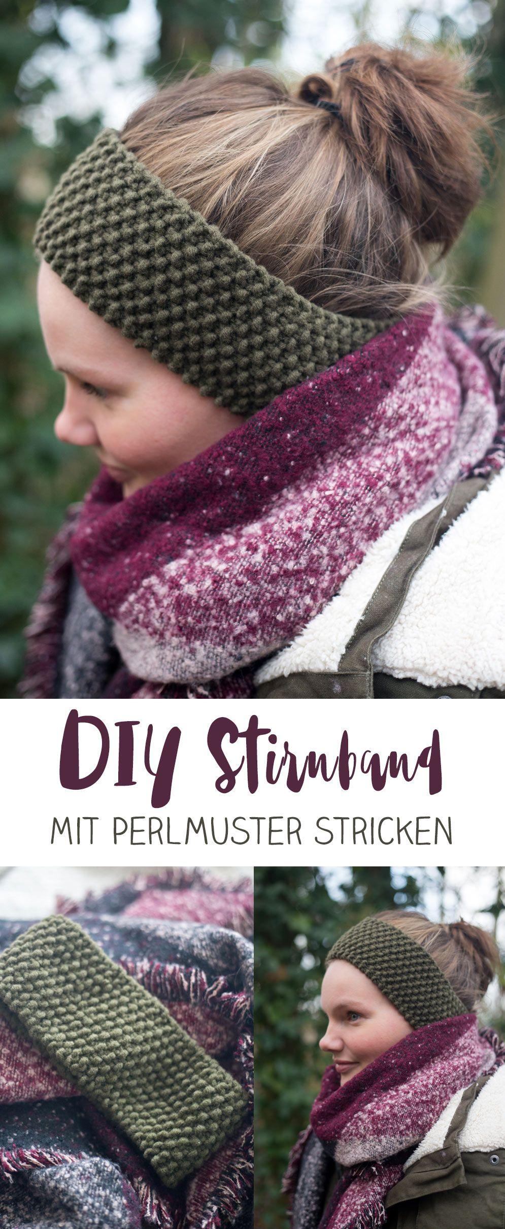 diy stirnband mit perlmuster stricken kleine diy. Black Bedroom Furniture Sets. Home Design Ideas