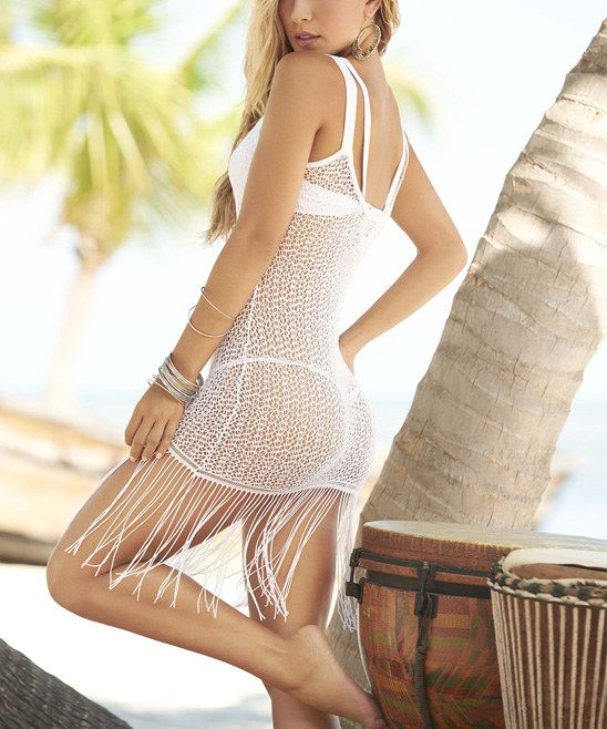 f86847eaf29b White Crochet Fringe Sleeveless Cover-Up   Sun Drenched Summer ...