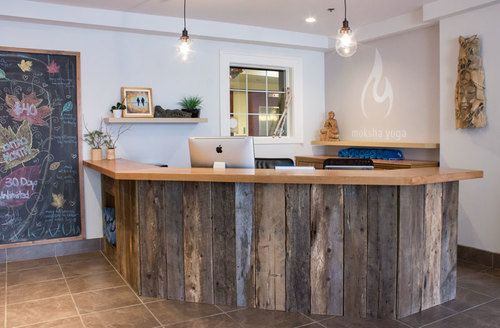Client work calming natural yoga studio Reception desks, Studio
