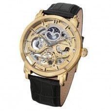 345d64681 Relógio Masculino Dourado Automático Importado Pulseira em Couro Stuhrling  Original cod37102 Relógio Michael Kors, Relogio