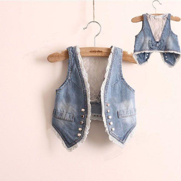 Meninas Denim colete colete e colete roupas sem mangas de renda crianças crianças outono Jeans colete feminino V001