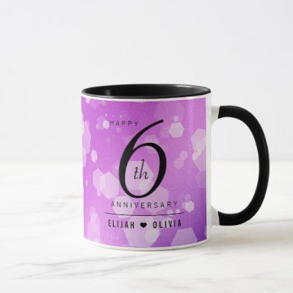 Elegant 6th Amethyst Wedding Anniversary Mug  anniversary gifts ideas diy celeb#...#6th #amethyst #anniversary #celeb #diy #elegant #gifts #ideas #mug #wedding
