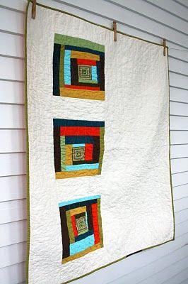 Craftyblossom: modern log cabin quilt