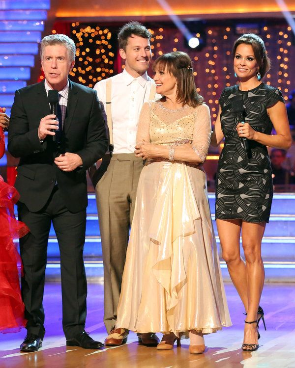 Tristan McManus & Valarie Harper (here with hosts Tom Bergeron & Brooke Burke Charvet) danced their last dance on week 4 with the Vienese Walts...at least till the season finale  -  Dancing With The Stars season 17  -  fall 2013