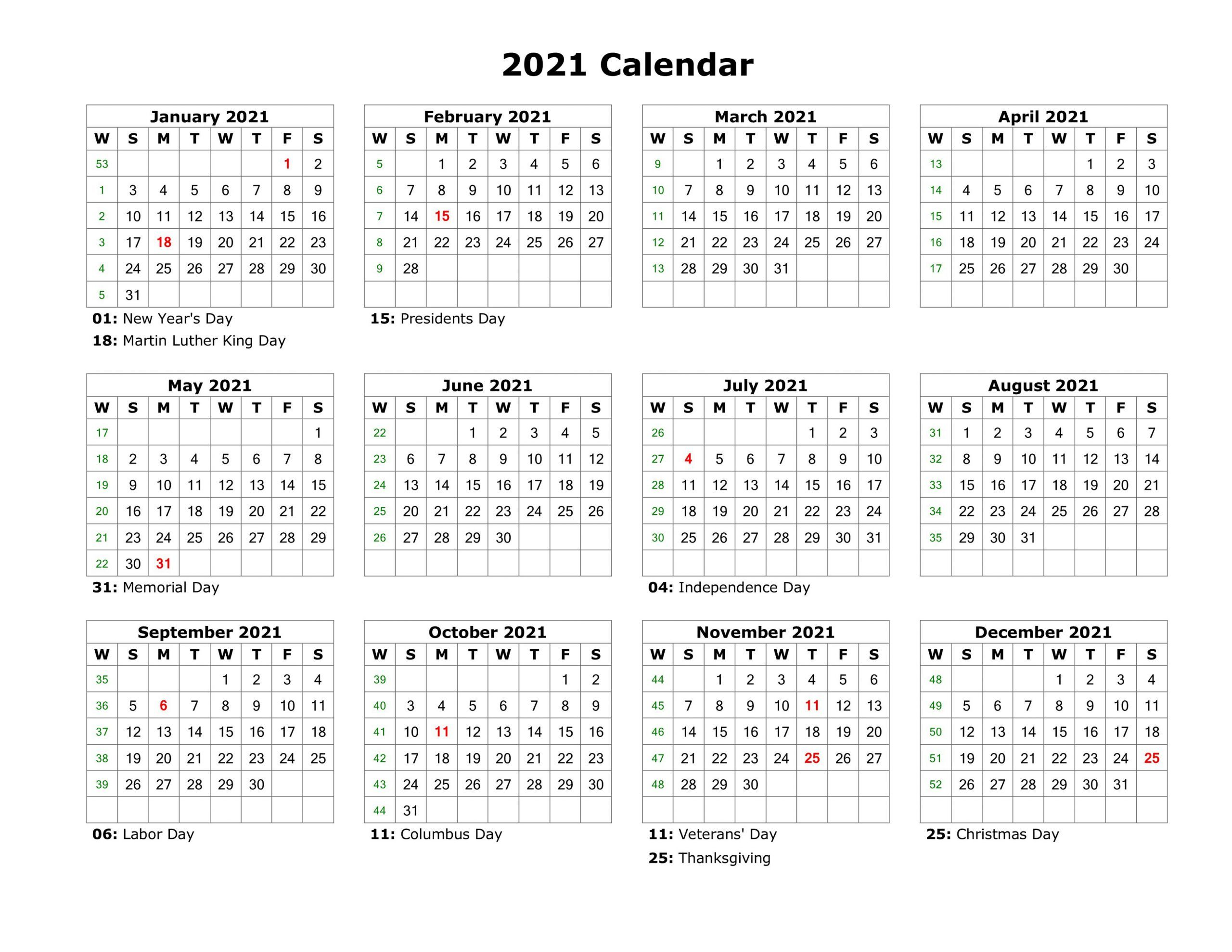 year at a glance calendar 2021 printable free for year at a glance