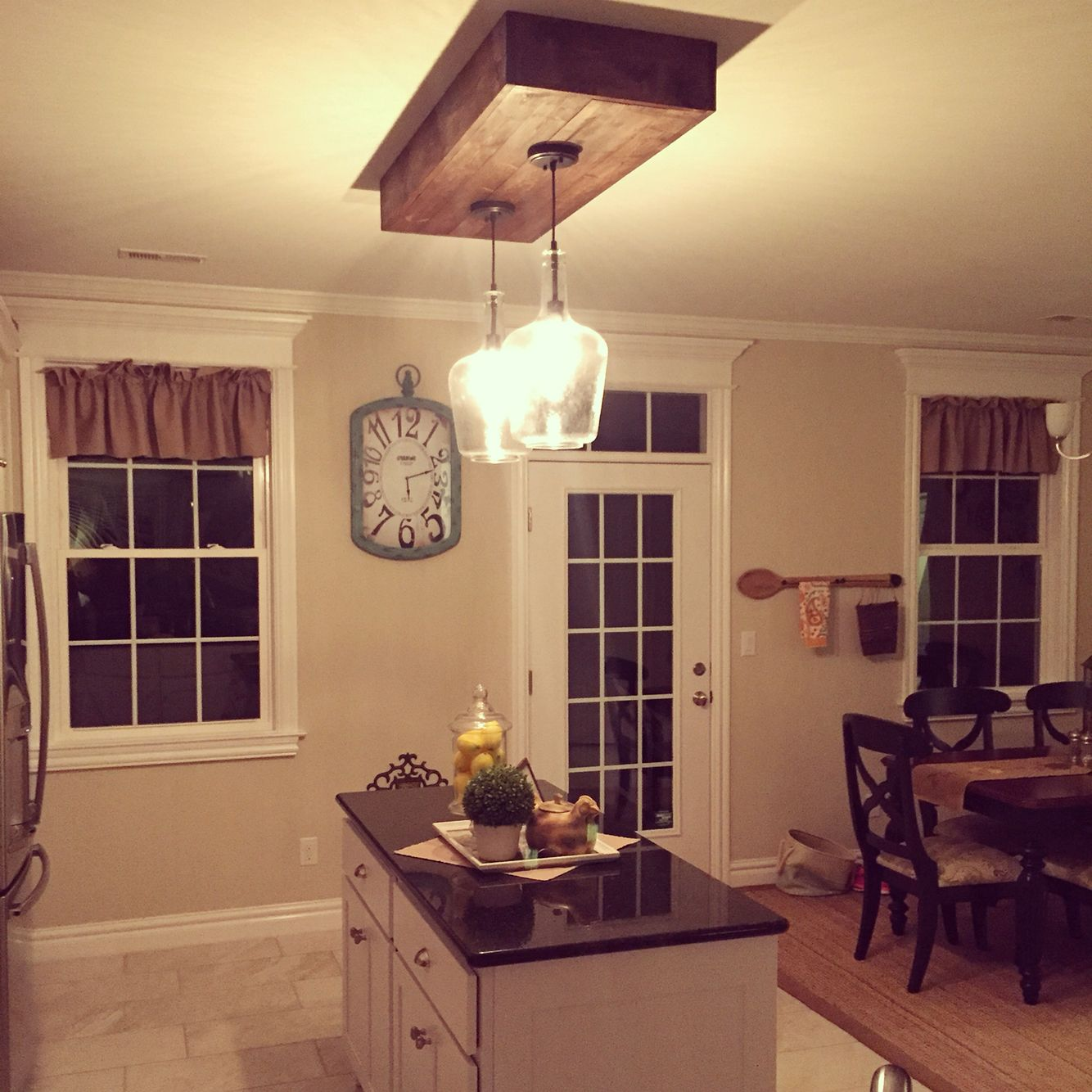 lights for kitchen island cabinets light wood replaced the fluorescent lighting