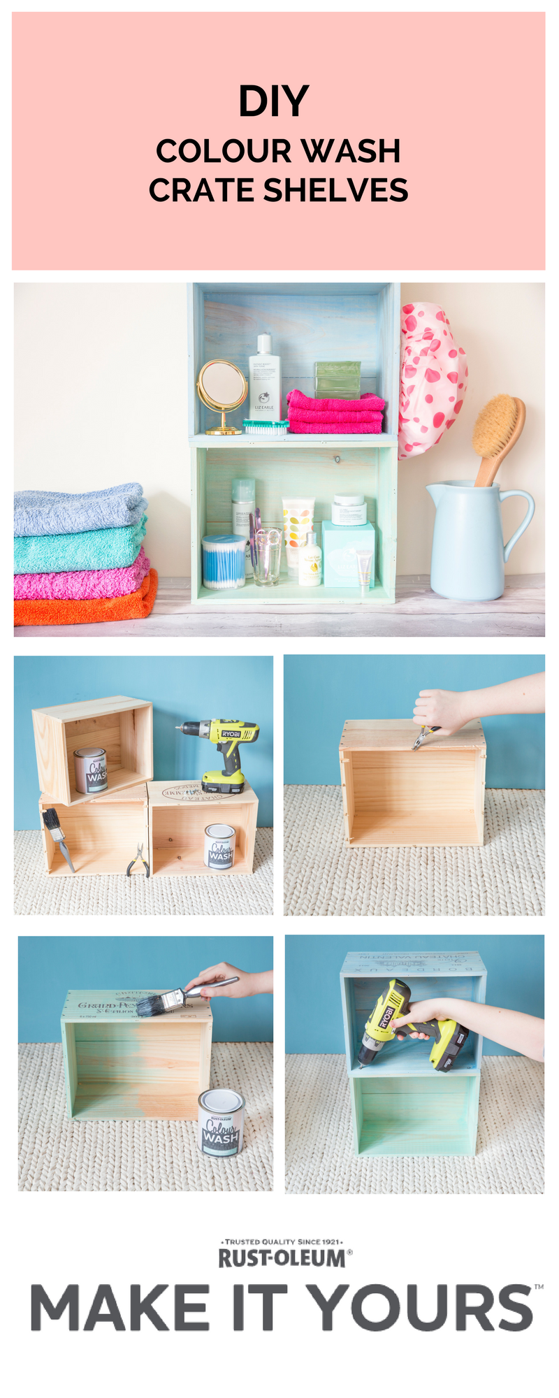 Create beautiful DIY colour wash bathroom shelving with this wine ...