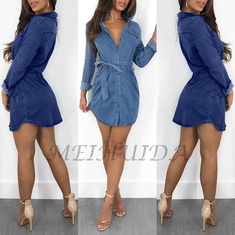 771934fed2f  DenimDress Women s Blue Jeans Denim T-Shirt Long Sleeve Casual Loose Shirt  Mini Dress - Denim Dress  13.59 End Date  Thursday Dec-6-2018 23 44 36 PST  Buy ...