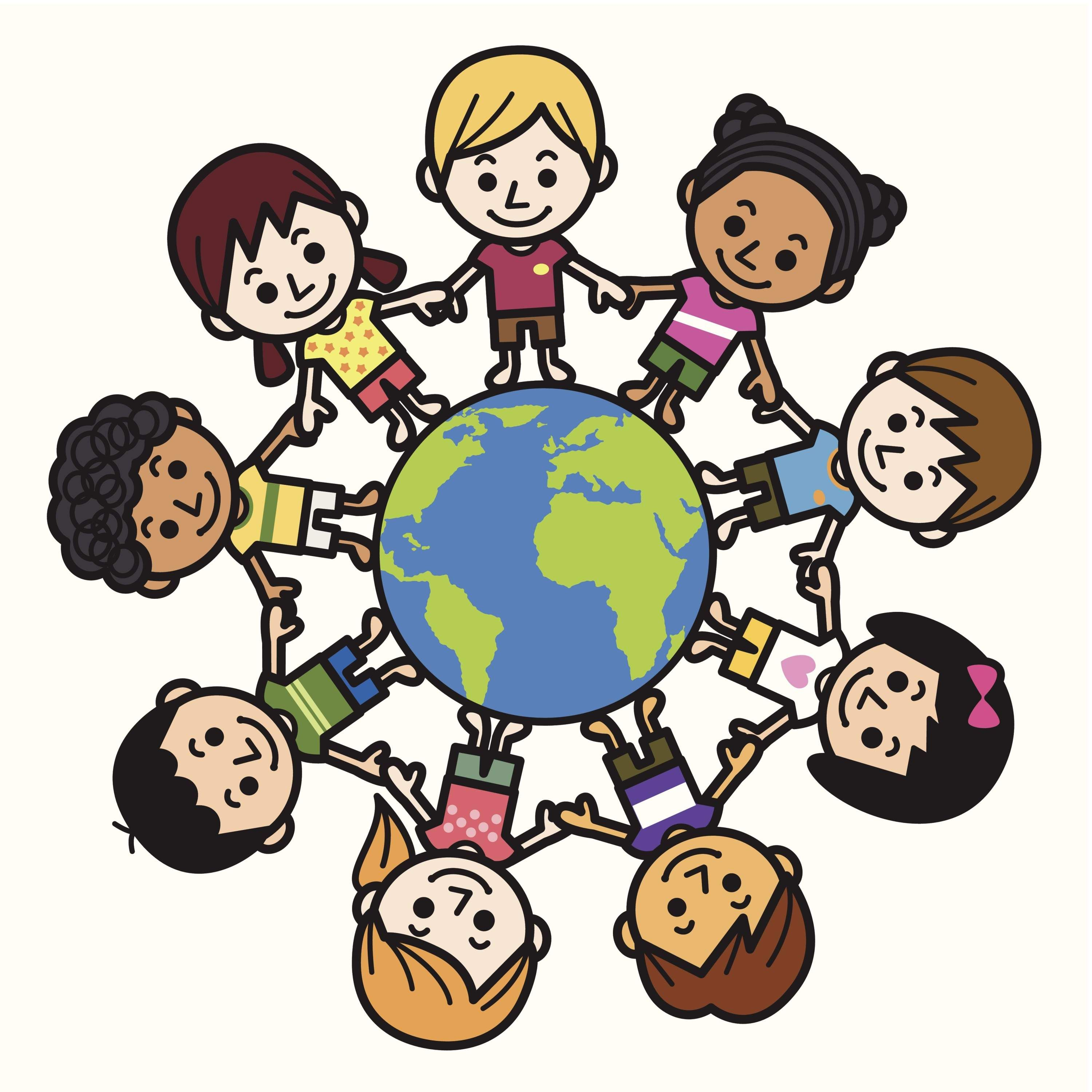 happy smiling multicultural kids around the world clipart free  [ 3000 x 3000 Pixel ]