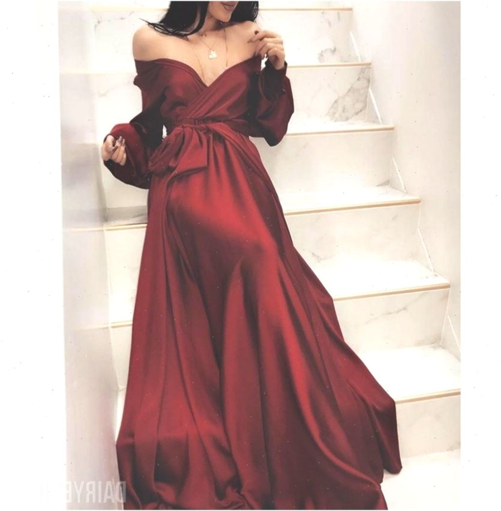 off shoulder long sleeve a-line silk elastic satin burgundy