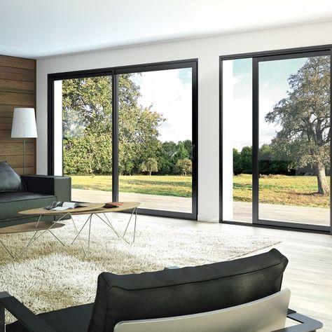 fen tre et baie coulissante aluminium aluslide salon en 2019 pinterest maison baie. Black Bedroom Furniture Sets. Home Design Ideas