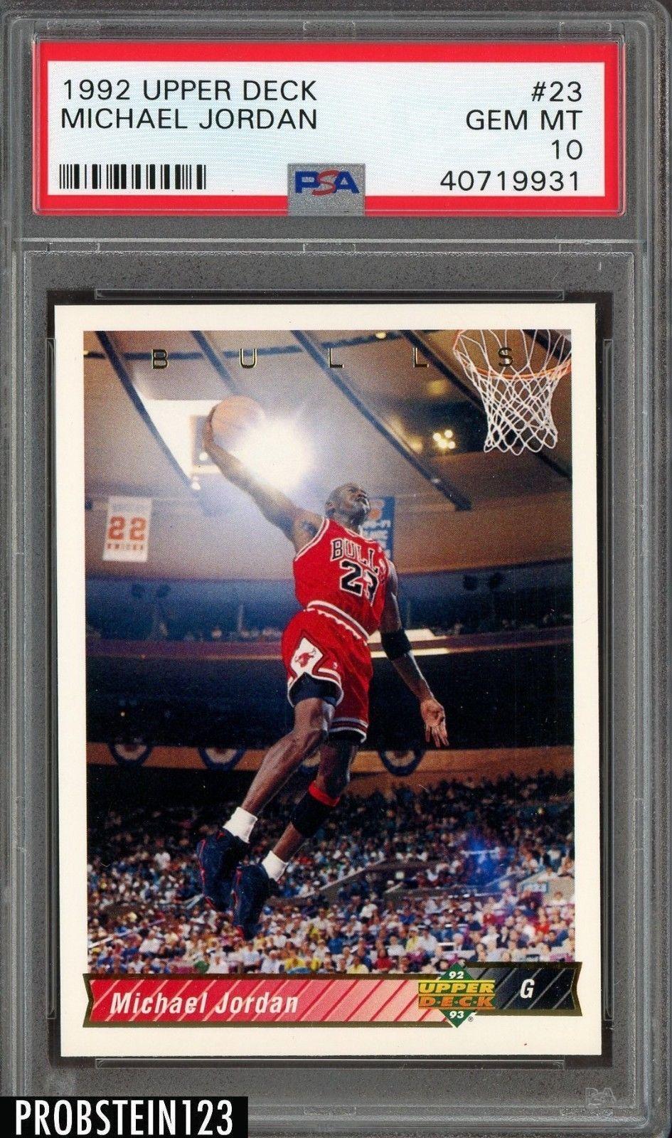 1992 upper deck 23 michael jordan chicago bulls hof psa