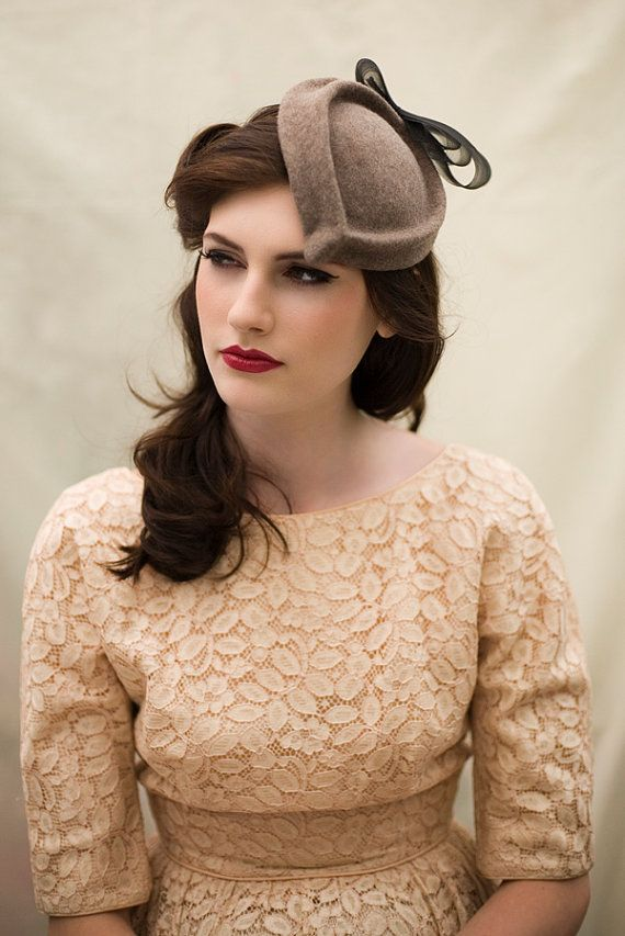 @Michelle Hall Can I wear a hat?  This one and some others come in a LIME!!!  Natural Oatmeal Cocktail Hat in Wool Felt by MaggieMowbrayHats, £140.00