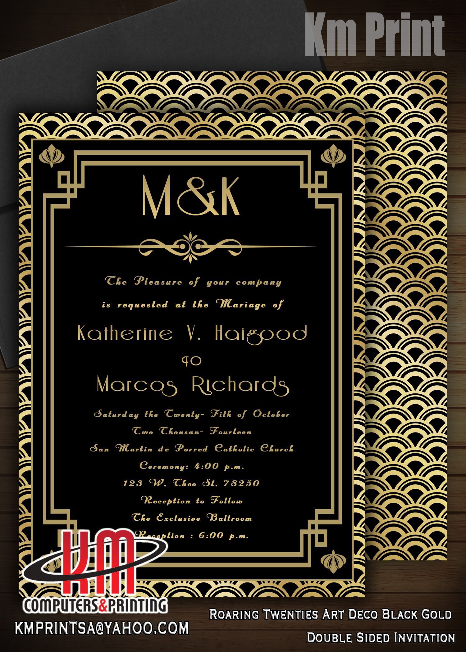 the great gatsby wedding invitations digital graphics double sided