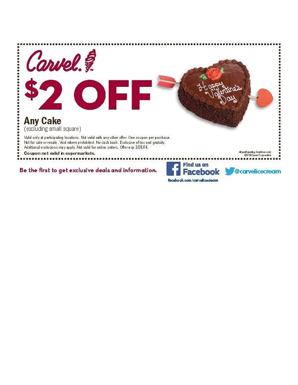 image regarding Carvel Coupon Printable named Help save $2 upon any Carvel cake. exp 2/28/14 Coupon codes, Specials
