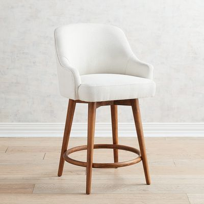 Bennie Ivory Swivel Counter Stool With Java Wood Swivel