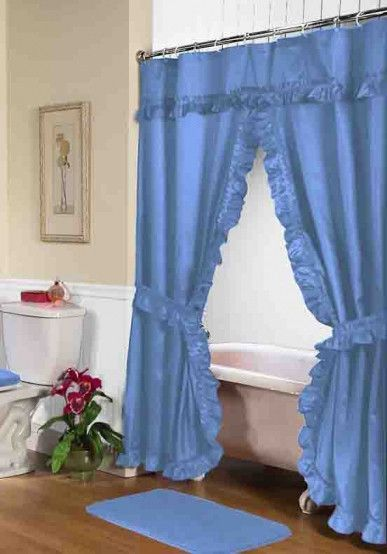 Ruffled Double Swag Shower Curtain With Valance U0026 Tie Backs, Light Blue
