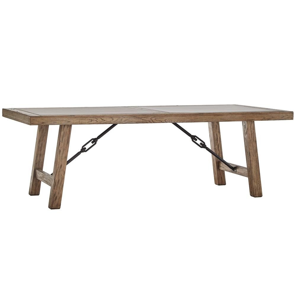 Dakota Oak Reinforced Concrete Trestle Dining Table by iNSPIRE Q Artisan by  iNSPIRE Q