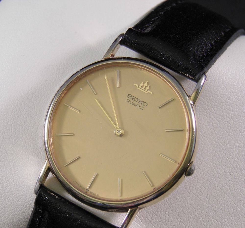 Classic Gold Tone Seiko Mens Wrist Watch 5y30 7060d Watches Jam Tangan Pria Expedition 6631 Black Yellow Triple Time Original